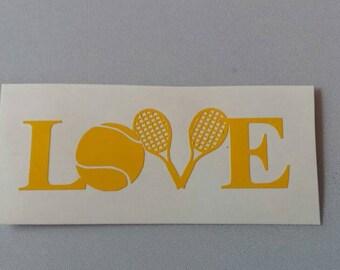 LOVE TENNIS Vinyl Car Window Decal Laptop Sticker .. FREE Shipping