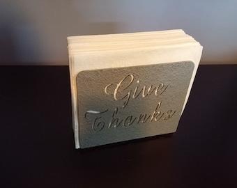 "Silver ""Give Thanks"" napkin holder"