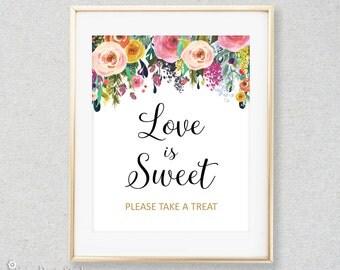 Love is Sweet Sign, Take a Treat Sign, Shower Favor Table Sign, INSTANT DOWNLOAD, Digital file