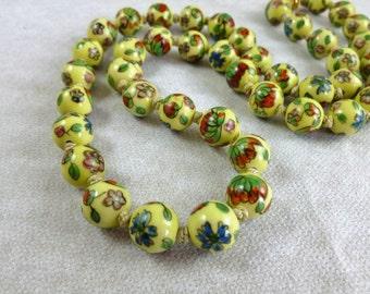 Vintage cloisonné beads neacklace, Mid century Cloisonne beads necklace, Vintage Chinese Cloisonne bead Necklace, 50's Hand Tied necklace