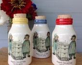 Ceramic Milk Bottle, Handmade Milk Bottle, Raggedy Ann Milk Bottle, Beekeeper Milk Bottle, Ceramic Honey Bottle, Ceramic Cork Jar