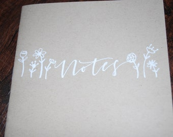 """Kraft Notebook """"Notes with Flowers"""""""