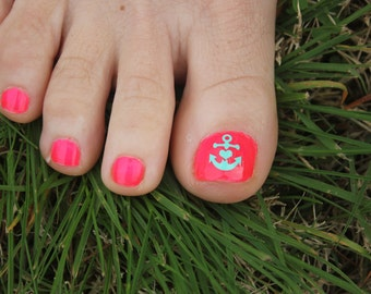 Anchor Toe nail decals, Toe nail decal, Anchor Toe nail art,  Nautical nail decal, Nail Art, Nail Designs, Toenail Stickers