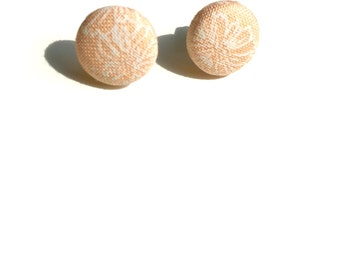 Peach Floral Fabric Button Earrings