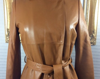 100% Tan Leather Trench Coat, Made in Korea, A Beautiful Classic