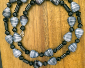 Vintage Smoke Won't Get In Your Eyes Czech Glass Beads Necklace