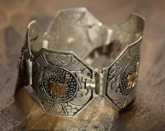 Aztec 925 Silver and 18K Gold Vintage Link Bracelet, Used