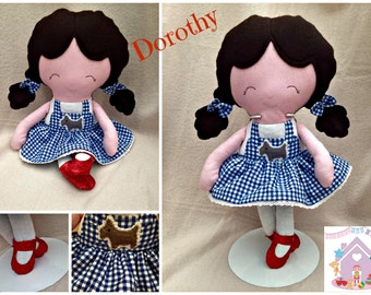 Handmade Dorothy Doll - Fabric Wizard Of Oz Themed Doll - Ready to Buy