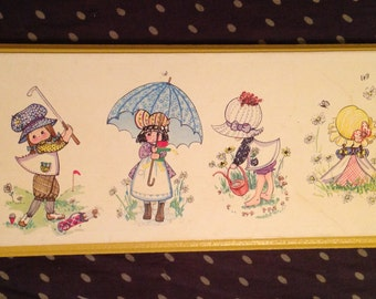 Adorable Vintage 1980s Holly Hobbie Style Wall Hang Picture