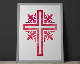 Red Ornate Cross Watercolor Faith Based8x10 Printable Digital Download