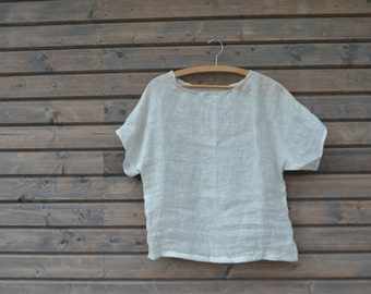 Linen top white / linen T shirt / Womens summer blouse / Women clothing / Womens linen clothes/ pure linen top /