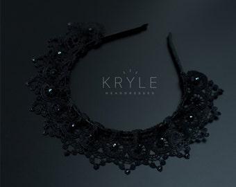 black crown, tiara, crowns, headdress, hair accessories, diadem, black headdress, womens gift, black lace, lace headpiece, lace headband