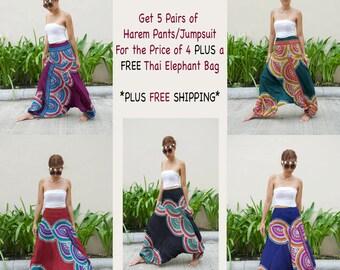 PROMOTION - 5 Pants for the Price of 4 + FREE Thai Elephant Bag + FREE Shipping - Harem Pants Jumpsuit Yoga Pants Boho Bohemian Thai Pants