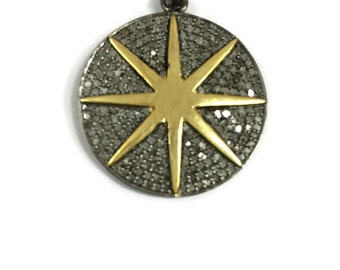 Diamonds and gold plated sterling silver pendant