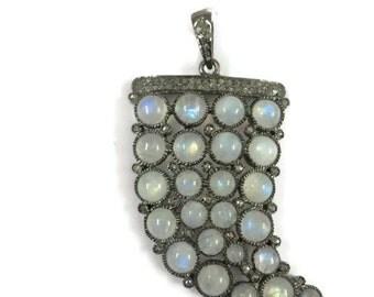 Diamond and Moonstone horn Pendant