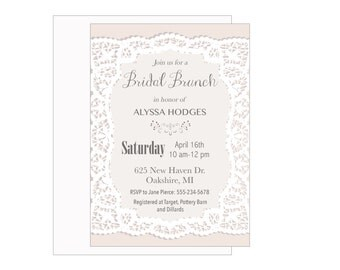 Bridal Brunch Invitation Printable, Lace, Classy Bridal Shower,