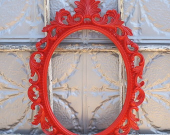 Ornate Oval Baroque Frame/ Wedding Photo Booth Prop/ Wedding Photography Prop/ Large Ornate Red Frame/ Nursery Frame Decor/ Frame Only