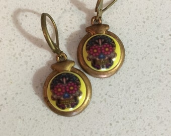 Sugarskull Glass and Brass Drop Earrings
