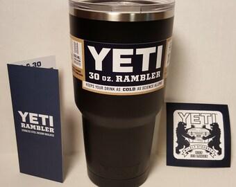 Powder Coated Authentic Yeti Rambler 20oz or 30oz - Matte Black