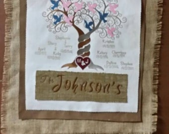 Embroidered family tree wall hanging