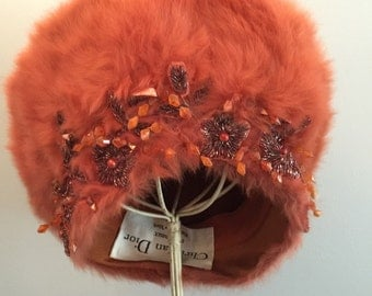Vintage 1960s Christian Dior Chapeaux Orange-Vintage Christian Dior Hat-1960s Fashion-Vintage Fashion