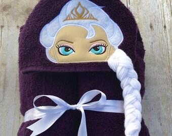 Frozen Ice Queen- Elsa, in deep purple, hooded towel