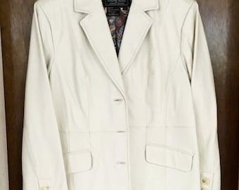 Women's White Leather Blazer