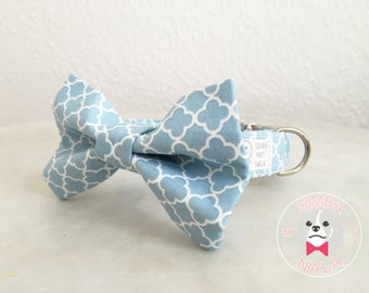 Pastell Blue Bow Tie Dog Collar with Roses/Quatrefoil Pattern/Bow Tie Dog Collar/ Wedding Gift/Easter Gift/Festive/Birthday
