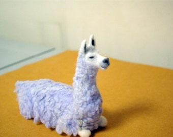 Llama worm, sitting llama, needle felted soft sculpture, can be used as a mini cushion