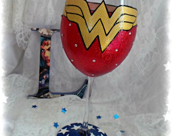 Wonder Woman inspired wineglass. Handpainted glass