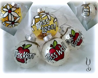 Teachers Gift, Hand-painted Teacher Gift, Hand-painted Bauble, Personalised Teacher Thank You
