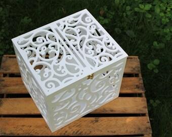 Wedding Card Box BIG SIZE-Wedding Gift-Plywood box-White Keepsake Box-Wedding money box-Wedding card money holder-WhiteCard Holder-Candy box