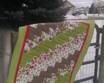 Green and Pink Pear Baby Quilt with Flannel Backing