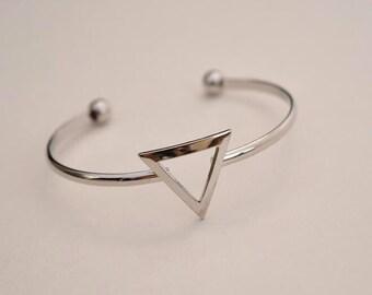 triangle cuff bracelet charm bracelet silver plated finding