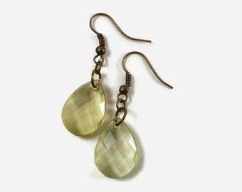 Light Green Teardrop Earrings