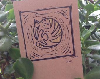 Numbat- Linocut greeting card.