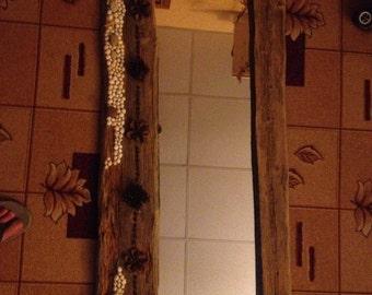 Old wood frame mirror