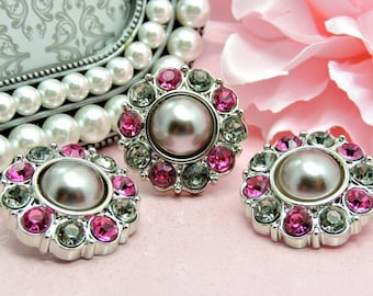 Pearl Rhinestone Buttons / Plastic Acrylic Gray Pearl Button W/ Hot Pink And Gray Surrounding Rhinestones Coat Buttons 25mm 2997 67P 19 24R