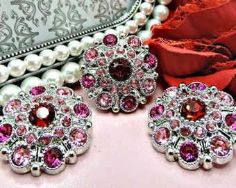 Deep Red Hot Pink And Pink Rhinestone Buttons Large Vintage Style Silver Acrylic Rhinestone Buttons Garment Buttons 28mm 5051 28 26 24 26