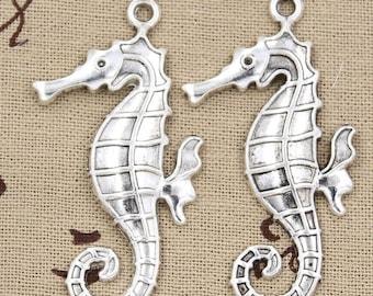 2 Large SEAHORSE Charms Antique Silver Ocean Charms Charm Bracelet Bangle Bracelet Pendants #339