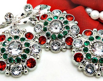 Christmas Red Clear And Green Rhinestone Buttons Large Vintage Style Silver Acrylic Rhinestone Buttons Garment Buttons 28mm 5051 2 3 6