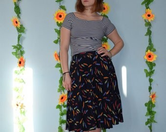 vintage 80s pencil print pleated skirt hipster