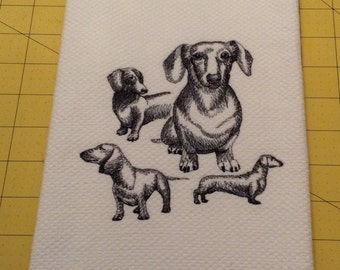Dachshund Collage Sketch Embroidered Kitchen Hand Towel, Williams Sonoma All Purpose, 100% cotton & XL, Made in Turkey