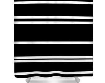 Shower Curtain-Black and White Lines