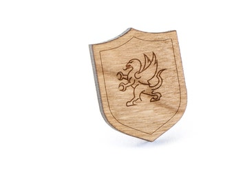 Griffin Lapel Pin, Wooden Pin, Wooden Lapel, Gift For Him or Her, Wedding Gifts, Groomsman Gifts, and Personalized