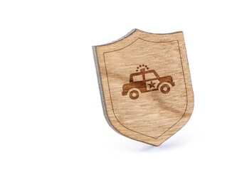 Policecar Lapel Pin, Wooden Pin, Wooden Lapel, Gift For Him or Her, Wedding Gifts, Groomsman Gifts, and Personalized
