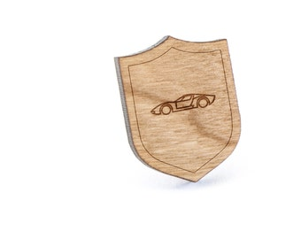 Racecar Lapel Pin, Wooden Pin, Wooden Lapel, Gift For Him or Her, Wedding Gifts, Groomsman Gifts, and Personalized