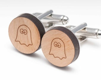 Ghost Wood Cufflinks Gift For Him, Wedding Gifts, Groomsman Gifts, and Personalized
