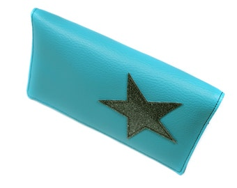 turquoise leather checkbook