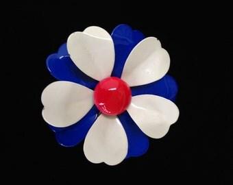 Retro Enamelled Flower Brooch- Red White and Blue Flower Brooch- 1960's Flower Brooch- 1960's Style- Vintage Metal Enamelled Flower Pin